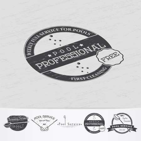 maintenance: Pool Service. Maintenance and Cleaning. Repair and adjustment of the house. Old retro vintage grunge. Monochrome typographic labels, stickers, and badges. Flat vector illustration Illustration