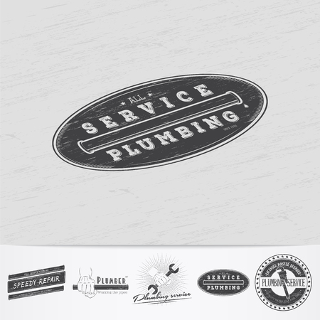 home repairs: Plumbing service. Home repairs. Repair and maintenance of buildings.Old retro vintage grunge. Scratched, damaged, dirty effect. Monochrome typographic labels, stickers, and badges. Flat vector illustration