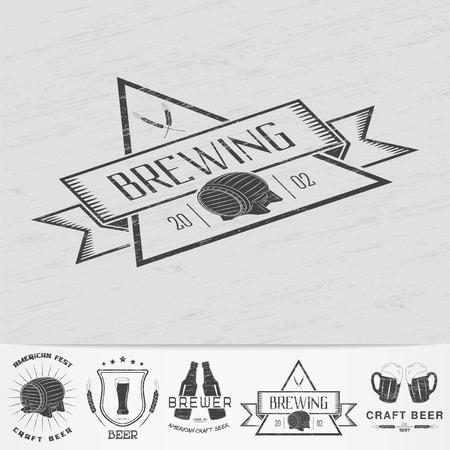 Beer pub. Brewing old school of vintage label. Old retro vintage grunge. Scratched, damaged, dirty effect. Monochrome typographic labels, stickers, logos and badges. Flat vector illustration Illustration