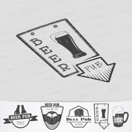 brew beer: Beer pub. Brewing old school of vintage label. Old retro vintage grunge. Scratched, damaged, dirty effect. Monochrome typographic labels, stickers, logos and badges. Flat vector illustration Illustration