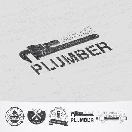 fix: Plumbing service. Home repairs. Repair and maintenance of buildings.Old retro vintage grunge. Scratched, damaged, dirty effect. Monochrome typographic labels, stickers, logos and badges. Flat vector illustration