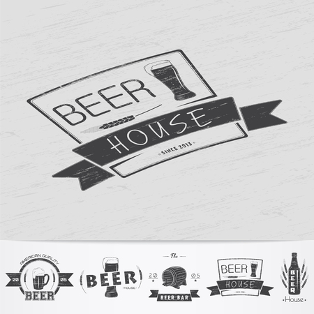 brewing house: Beer pub. Brewing old school of vintage label. Old retro vintage grunge. Scratched, damaged, dirty effect. Monochrome typographic labels, stickers, logos and badges. Flat vector illustration Illustration