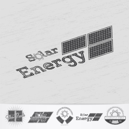 solar collector: Solar panels for energy. Sustainable ecological solar energy generator powered by natural energy source. Old school of vintage label. Monochrome typographic labels, stickers, logos and badges.