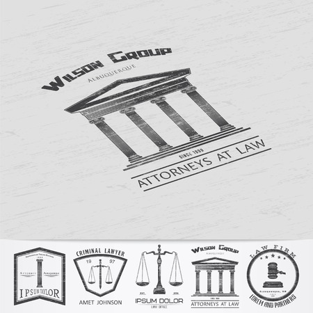 judge hammer: Lawyer services. Law office. The judge, the district attorney, the lawyer of vintage labels. Old retro vintage grunge. Typographic labels, stickers, logos and badges. Flat vector illustration