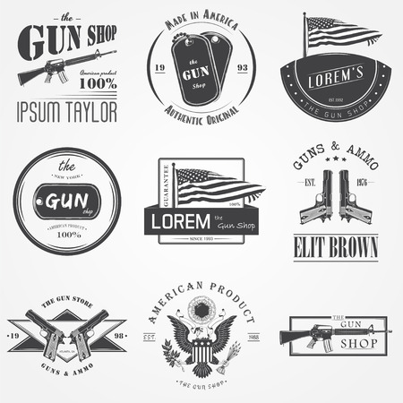 American gun shop set. Firearms store. Hunting gun. Detailed elements. Typographic labels, stickers, and badges. Flat vector illustration