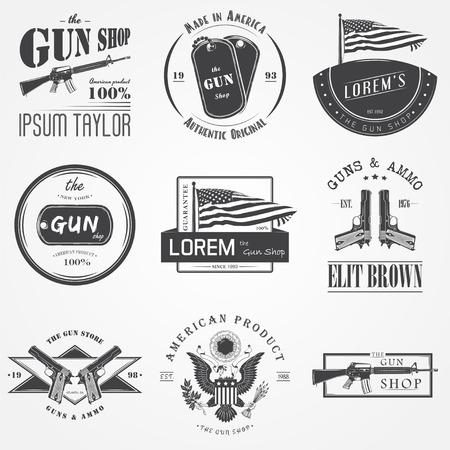 fusil de chasse: armurerie américaine réglée. Les armes à feu magasin. Fusil de chasse. éléments détaillés. étiquettes typographiques, des autocollants et des badges. Flat vector illustration