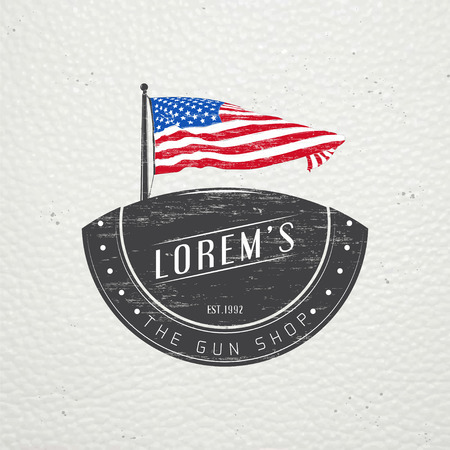 firearms: American gun shop. Firearms store. Hunting gun. Detailed elements. Old retro vintage grunge. Scratched, damaged, dirty effect. Typographic labels, stickers, logos and badges. Flat vector illustration
