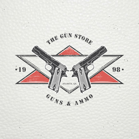 American gun shop. Firearms store. Hunting gun. Detailed elements. Old retro vintage grunge. Scratched, damaged, dirty effect. Typographic labels, stickers, logos and badges. Flat vector illustration