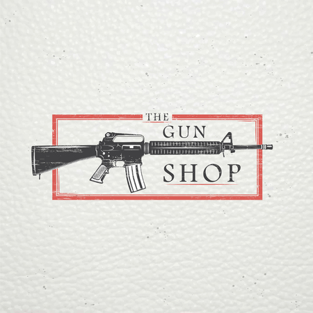 pistolas: Tienda de armas de Estados Unidos. Armas de Fuego tienda. Caza arma. Elementos detallados. Viejo grunge retro vintage. Rasguñado, dañado, efecto sucio. Tipográfico etiquetas, pegatinas, insignias y distintivos. Ilustración vectorial Flat