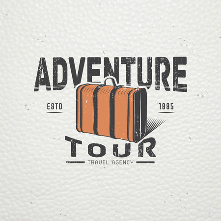 world travel: Summer time. Tourist agency. Travel around the world. Detailed elements. Old retro vintage grunge. Scratched, damaged, dirty effect. Typographic labels, stickers and badges. Flat vector illustration