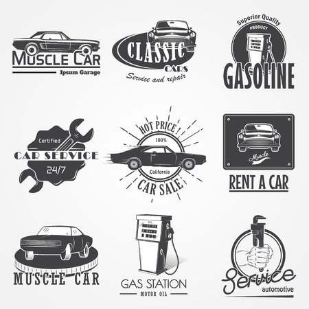 auto service: Auto service set. Rent a Car. Garage auto. Detailed elements. Typographic labels, stickers and badges. Flat vector illustration