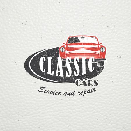 Auto-Service eingestellt. Ein Auto mieten. Garage Auto. Detaillierte Elemente. Alte Retro-Vintage-Grunge. Zerkratzt, beschädigt, verschmutzt Wirkung. Typografische Etiketten, Aufkleber, Logos und Abzeichen. Flache Vektor-Illustration