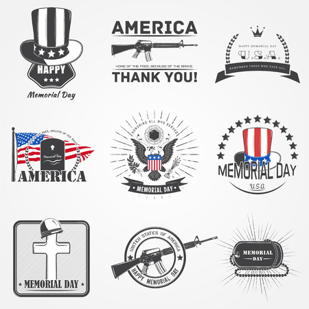 national hero: Happy Memorial day set. The celebration of patriotic celebration of America. Detailed elements.