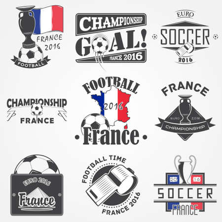 dirty football: Football Championship of France set. Soccer time. Detailed elements. Old retro vintage grunge. Scratched, damaged, dirty effect. Typographic labels, stickers, logos and badges. Flat vector illustration