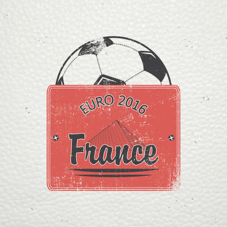 dirty football: Football Championship of France. Soccer time. Detailed elements. Old retro vintage grunge. Scratched, damaged, dirty effect. Typographic labels, stickers, logos and badges. Flat vector illustration Illustration