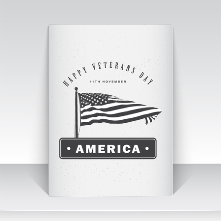 patriotic america: Happy veterans day set. Independence day. The celebration of patriotic celebration of America. Detailed elements. Typographic labels, stickers, logos and badges. Sheet of white paper. Flat vector illustration Illustration