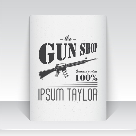 firearms: American gun shop. Firearms store. Hunting gun. Detailed elements. Typographic labels, stickers, logos and badges.