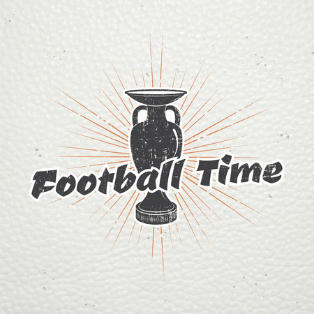 dirty football: Football Championship of France. Soccer time. Detailed elements. Old retro vintage grunge. Scratched, damaged, dirty effect. Typographic labels, stickers, and badges. Flat illustration Illustration