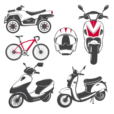 mopeds: Rent, sale and repair - bicycles, mopeds and scooters. Bicycling Club. Detailed elements. Old retro vintage grunge. Scratched, damaged, dirty effect. Typographic labels, stickers and badges. Flat vector illustration Illustration