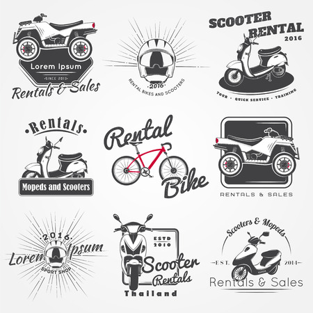 mopeds: Rent, sale and repair - bicycles, mopeds and scooters. Bicycling Club. Detailed elements. Old retro vintage grunge. Scratched, damaged, dirty effect. Typographic labels, stickers badges. Flat vector illustration