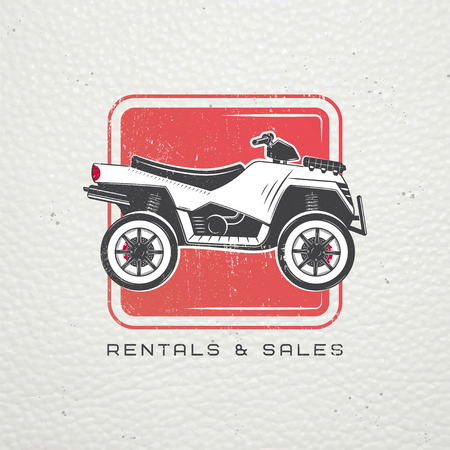 mopeds: Rent, sale and repair - bicycles, mopeds and scooters. Bicycling Club. Detailed elements. Old retro vintage grunge. Scratched, damaged, dirty effect. Typographic labels, stickers, logos and badges. Flat vector illustration