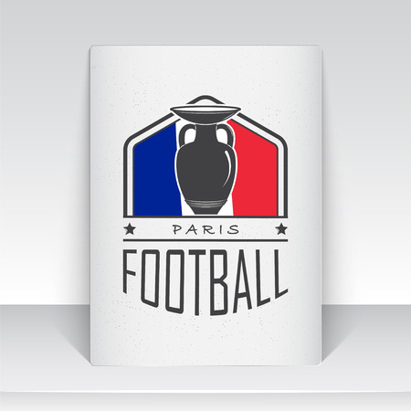 dirty football: Football Championship of France. Soccer time. Detailed elements. Old retro vintage grunge. Scratched, damaged, dirty effect. Typographic labels, stickers and badges. Flat vector illustration