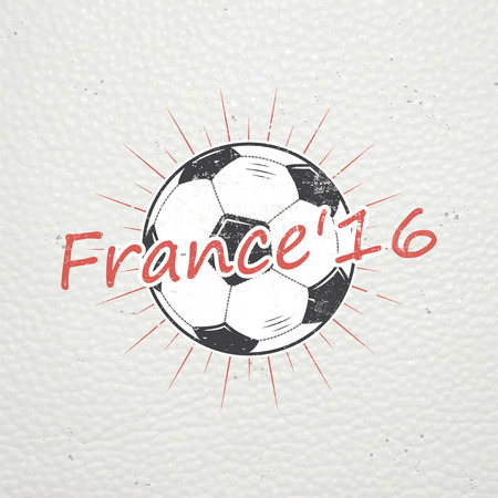 Football Championship of France. Soccer time. Detailed elements. Old retro vintage grunge. Scratched, damaged, dirty effect. Typographic labels, stickers and badges. Flat vector illustration