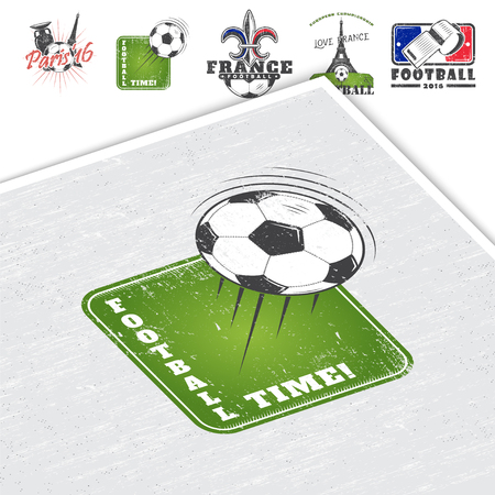 Football Championship. Soccer time. Detailed elements. Old retro vintage grunge. Scratched, damaged, dirty effect. Typographic labels, stickers and badges. Flat vector illustration