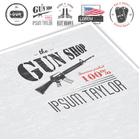 firearms: American gun shop set. Firearms store. Hunting gun. Detailed elements. Typographic labels, stickers and badges. Flat vector illustration