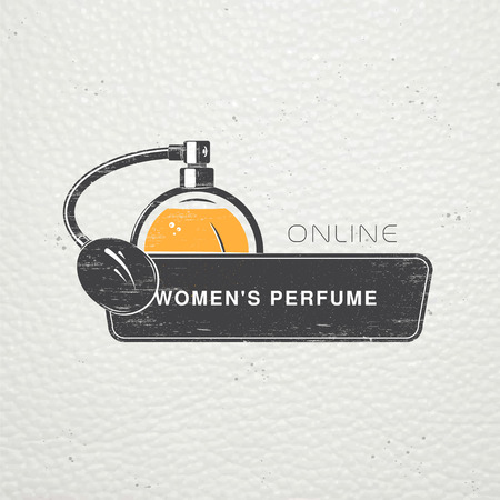 The Fragrance Shop. Exclusive boutique with aromatic oils. Detailed elements. Old retro vintage grunge. Scratched, damaged, dirty effect. Typographic labels, stickers, and badges. Flat illustration