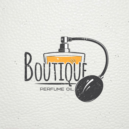 scents: The Fragrance Shop. Exclusive boutique with aromatic oils. Detailed elements. Old retro vintage grunge. Scratched, damaged, dirty effect. Typographic labels, stickers, and badges. Flat illustration