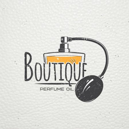 The Fragrance Shop. boutique exclusive avec des huiles aromatiques. éléments détaillés. Old grunge retro vintage. Éraflure, endommagé, effet sale. étiquettes typographiques, des autocollants et des badges. illustration plat