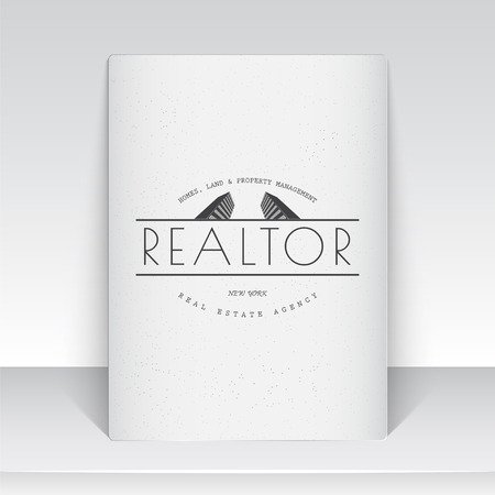 real estate agency: Real estate agency. Buy, Sell and Consultancy. Detailed elements. Sheet of white paper. Scratched, damaged, dirty effect. Typographic labels, stickers, and badges Flat illustration