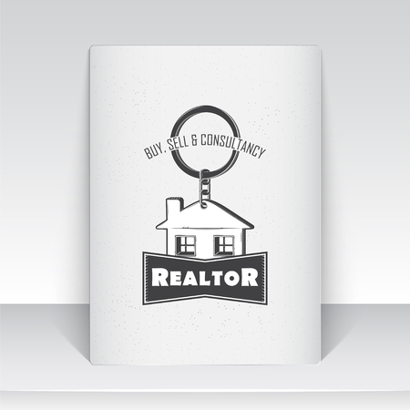 Real estate agency. Buy, Sell and Consultancy. Detailed elements. Sheet of white paper. Scratched, damaged, dirty effect. Typographic labels, stickers, and badges Flat illustration