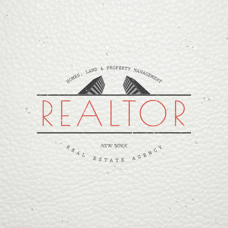 Real estate agency. Buy, Sell and Consultancy. Detailed elements. Old retro vintage grunge. Scratched, damaged, dirty effect. Typographic labels, stickers, and badges Flat illustration