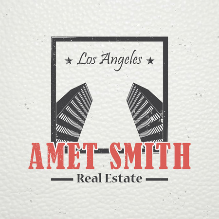 real estate agency: Real estate agency. Buy, Sell and Consultancy. Detailed elements. Old retro vintage grunge. Scratched, damaged, dirty effect. Typographic labels, stickers, and badges Flat illustration