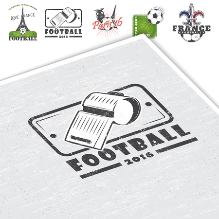 dirty football: Football Championship. Soccer time. Detailed elements. Old retro vintage grunge. Scratched, damaged, dirty effect. Typographic labels stickers and badges. Mockup style