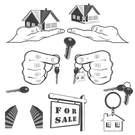 real estate agency: A set of parts for a real estate agency, realtor and agent. Buy, Sell and Consultancy. Detailed details - hand with key, house key chain, sales board.