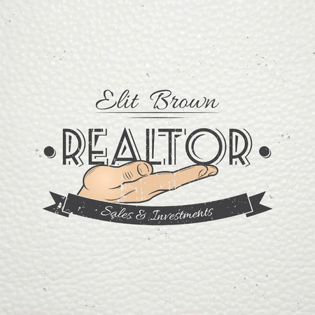 damaged: Real estate agency. Buy, Sell and Consultancy. Detailed elements. Old retro vintage grunge. Scratched, damaged, dirty effect. Typographic labels, stickers, logos and badges Flat vector illustration Illustration