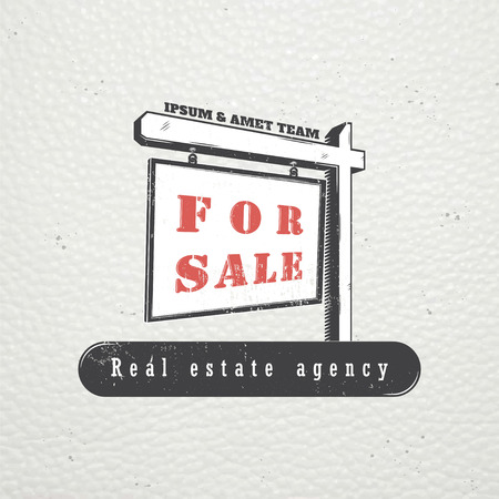 Real estate agency. Buy, Sell and Consultancy. Detailed elements. Old retro vintage grunge. Scratched, damaged, dirty effect. Typographic labels, stickers, logos and badges Flat vector illustration Illustration