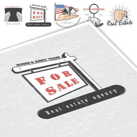 Real estate agency. Buy, Sell and Consultancy. Detailed elements. Old retro vintage grunge. Mockup style. Typographic labels, stickers, logos and badges Flat vector illustration