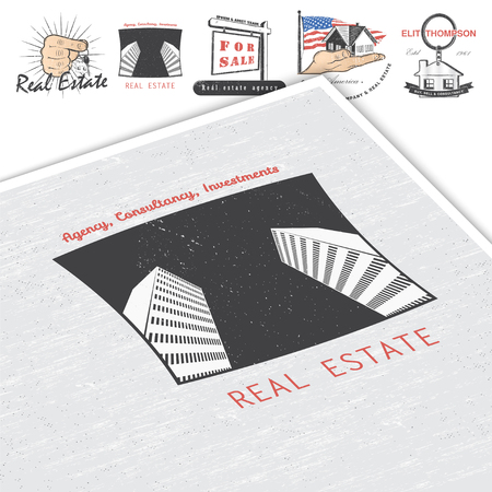 real estate agency: Real estate agency. Buy, Sell and Consultancy. Detailed elements. Old retro vintage grunge. Mockup style. Typographic labels, stickers, logos and badges Flat vector illustration