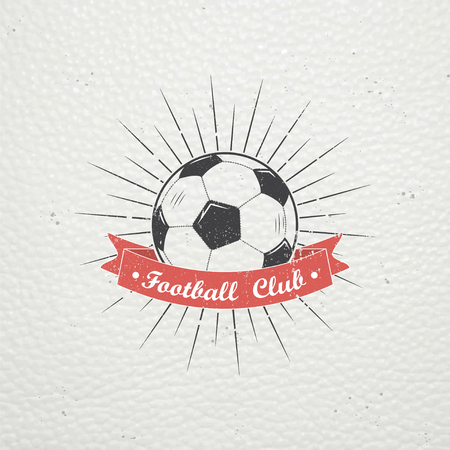 Set of Soccer Football Club. Sport Team. Detailed elements. Old retro vintage grunge. Typographic labels, stickers, logos and badges. Flat vector illustration