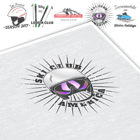 ski goggles: Ski Club Team. Mountain and Outdoor Adventures. Winter holidays and vacation. Typographic labels, stickers, logos and badges.