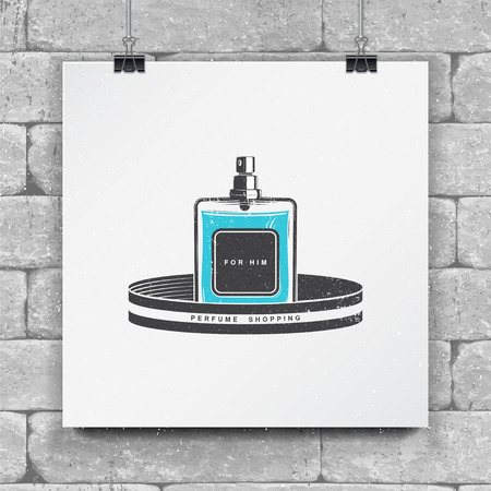 perfumery concept: The Fragrance Shop. Exclusive boutique with aromatic oils. Detailed elements. Old retro vintage grunge. Mock up style. Illustration