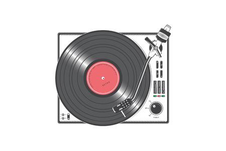 Lecteur vinyle rétro avec disque vinyle. Éléments détaillés. Ancienne icône de joueur vintage rétro. Illustration vectorielle plane