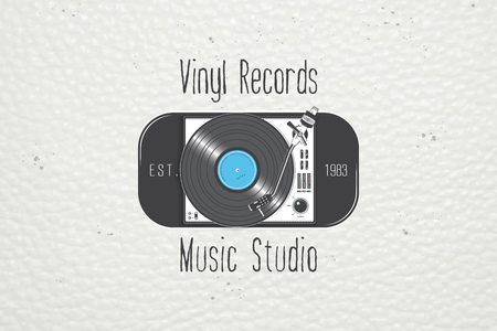 Grunge Camera Vector : Vinyl record music in the studio. detailed elements. old retro