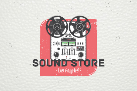Color sticker studio recording and music shop. Detailed elements. Old retro vintage grunge. Typographic labels, stickers, logos and badges. Flat vector illustration Illustration