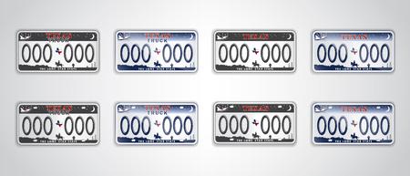 Stel Texas auto nummerplaat. Gedetailleerd object