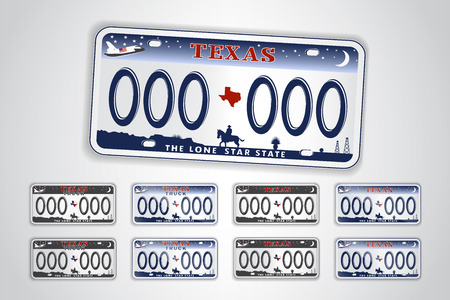 Set Texas auto license plate. Detailed object.